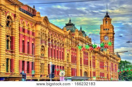 Flinders Street railway station, an iconic building of Melbourne - Australia, Victoria. Built in 1909