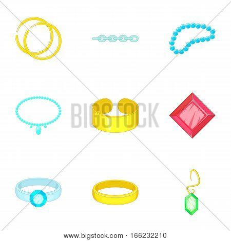 Precious jewels icons set. Cartoon illustration of 9 precious jewels vector icons for web