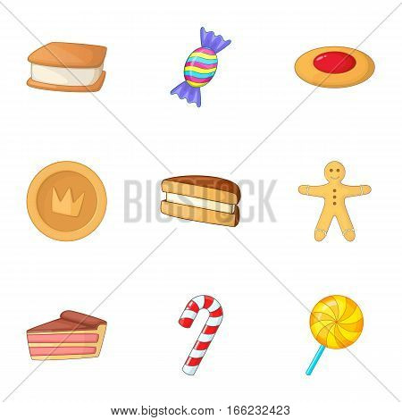 Confectionery icons set. Cartoon illustration of 9 confectionery vector icons for web
