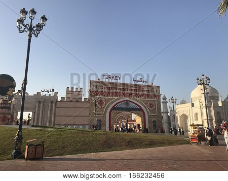 DUBAI, UAE - JAN 11: Turkey pavilion at Global Village in Dubai, UAE, as seen on Jan 11, 2017. The Global Village is claimed to be the world's largest tourism, leisure and entertainment project.