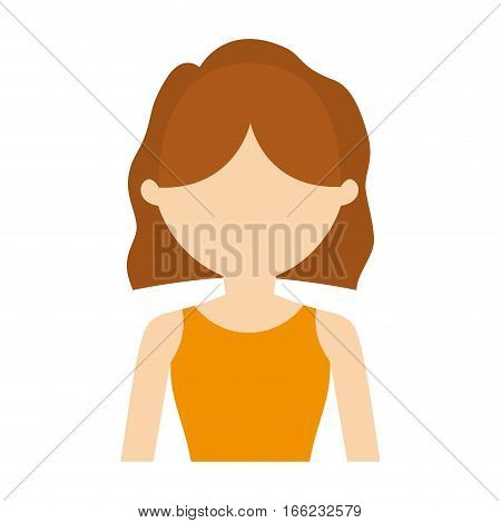 character woman yellow shirt haircut vector illustration eps 10