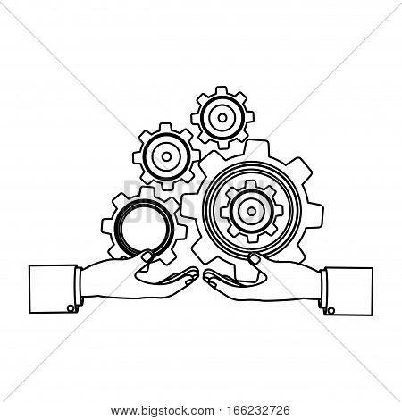 monochrome silhouette with hands hold gear wheels vector illustration