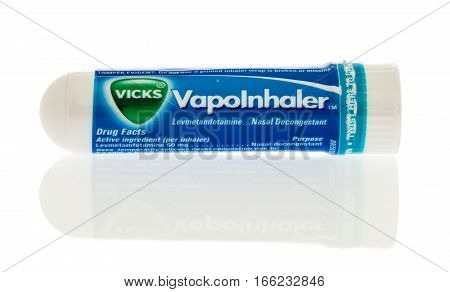 Winneconne WI -22 January 2017: Tube of Vicks Vapo Inhaler on an isolated background.