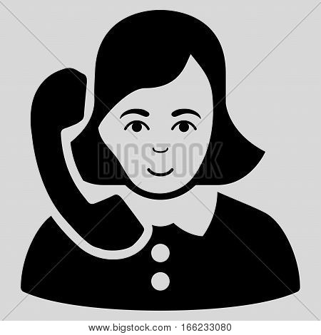 Receptionist vector icon. Flat black symbol. Pictogram is isolated on a light gray background. Designed for web and software interfaces.