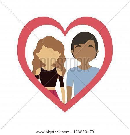 couple love frame heart mixed race vector illustration eps 10