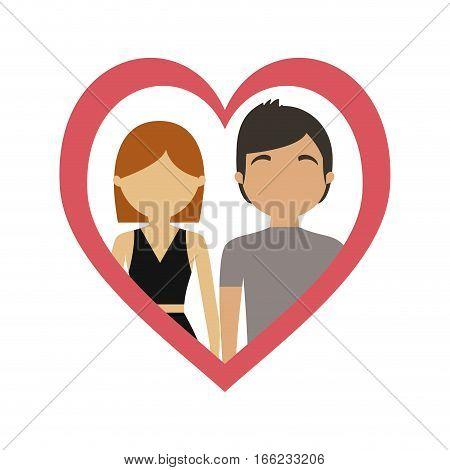 couple love frame heart together vector illustration eps 10