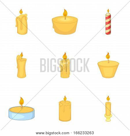 Burning candles icons set. Cartoon illustration of 9 burning candles vector icons for web