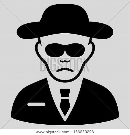 Security Agent vector icon. Flat black symbol. Pictogram is isolated on a light gray background. Designed for web and software interfaces.