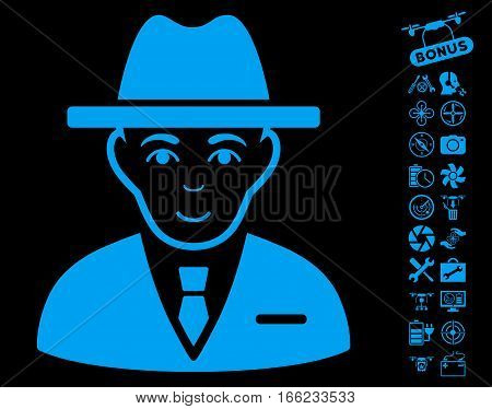 Agent icon with bonus quad copter service clip art. Vector illustration style is flat iconic blue symbols on black background.
