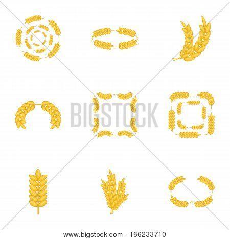 Agricultural symbols icons set. Cartoon illustration of 9 agricultural symbols vector icons for web