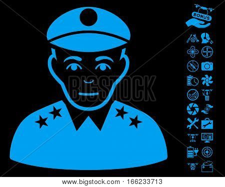 Army General icon with bonus quad copter service symbols. Vector illustration style is flat iconic blue symbols on black background.