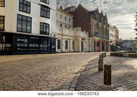EXETER DEVON UK 22 July 2016: Cathedral Yard in the city center