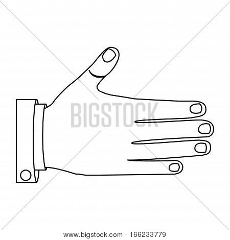 monochrome silhouette with right hand vector illustration