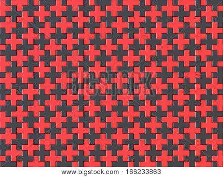 Black and red cross jigsaw puzzle background seamless pattern. 3D render illustration
