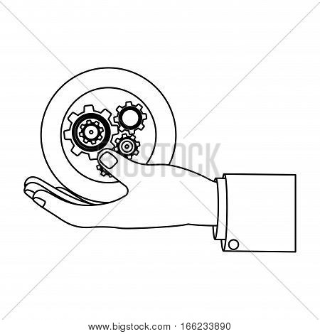 monochrome silhouette with left hand hold round pinions vector illustration