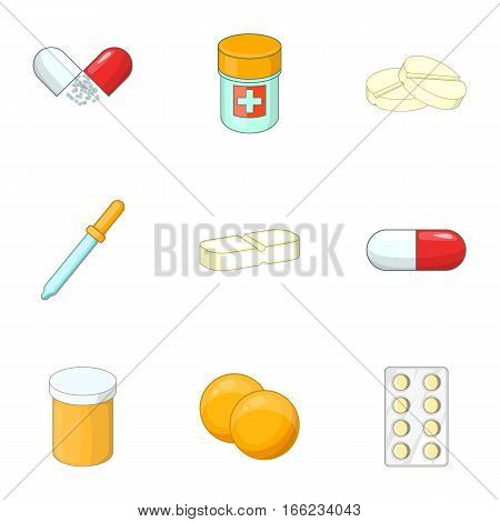 Medications icons set. Cartoon illustration of 9 medications vector icons for web
