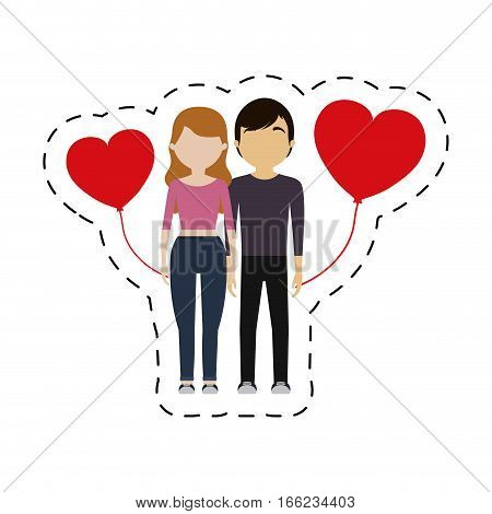 couple red hearts balloon vector illustration eps 10