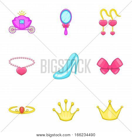 Little princess icons set. Cartoon illustration of 9 little princess vector icons for web