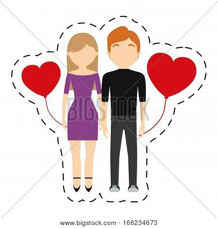couple valentine day red hearts balloon vector illustration eps 10