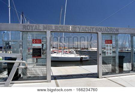 Melbourne Australia - December 30 2016. Royal Melbourne Yacht Squadron pier in St Kilda.