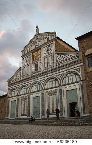 Italy Florence - November 01 2016: view of Basilica San Miniato al Monte facade on November 01 2016 in Florence Italy.