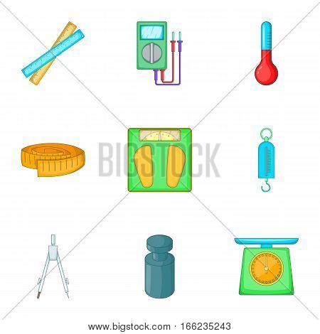 Tools for measurement icons set. Cartoon illustration of 9 tools for measurement vector icons for web