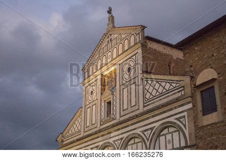 Italy Florence - November 01 2016: view of the front fragment of Basilica San Miniato al Monte on November 01 2016 in Florence Italy.