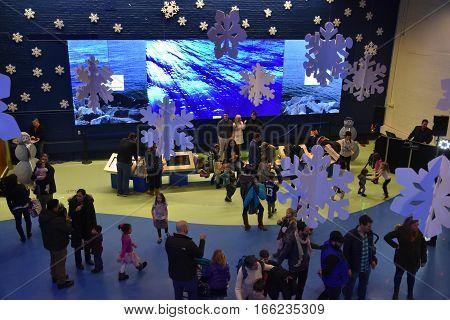 NORWALK, CT - DEC 31: New Years Eve celebration at the Maritime Aquarium in Norwalk, Connecticut, as seen on Dec 31, 2016. The