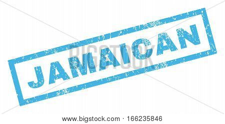 Jamaican text rubber seal stamp watermark. Tag inside rectangular shape with grunge design and scratched texture. Inclined vector blue ink sticker on a white background.