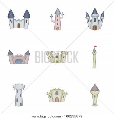 Citadel and chateau fortress icons set. Cartoon illustration of 9 citadel and chateau fortress vector icons for web