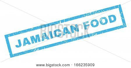 Jamaican Food text rubber seal stamp watermark. Caption inside rectangular banner with grunge design and dust texture. Inclined vector blue ink sticker on a white background.