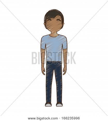 drawing avatar man ethnic style standing vector illustration eps 10