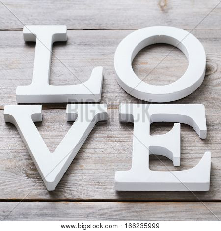 Love and still life concept. Valentines day holiday letters text message card