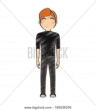drawing avatar man fashion standing vector illustration eps 10