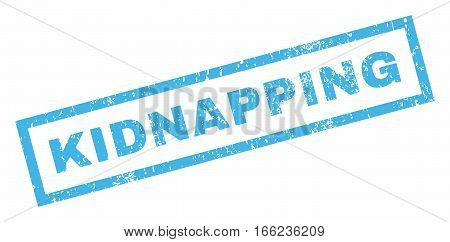 Kidnapping text rubber seal stamp watermark. Caption inside rectangular shape with grunge design and scratched texture. Inclined vector blue ink emblem on a white background.
