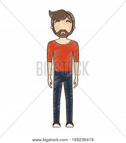 drawing avatar bearded man red shirt standing vector illustration eps 10