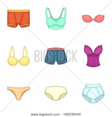 Clothing cotton textile pants and underwear icons set. Cartoon illustration of 9 clothing cotton textile pants and underwear vector icons for web