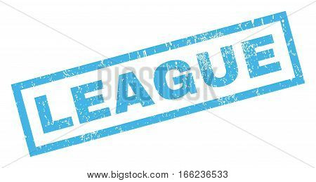 League text rubber seal stamp watermark. Caption inside rectangular banner with grunge design and dust texture. Inclined vector blue ink sign on a white background.