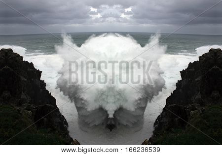 Fantastic sea foam animals,geometric composition of Wave crashing, artistic  composition,abstract photography, abstract surrealism, tribute to Dalí, Sea monsters, Ghosts and fears of the subconscious,