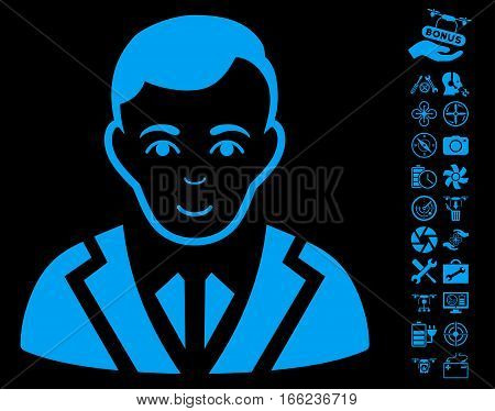 Noble pictograph with bonus copter tools symbols. Vector illustration style is flat iconic blue symbols on black background.