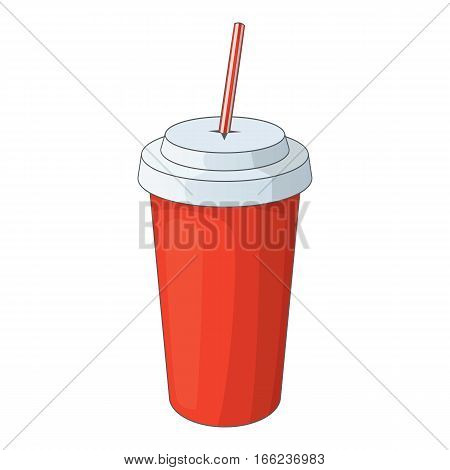Paper cup with straw icon. Cartoon illustration of paper cup with straw vector icon for web design
