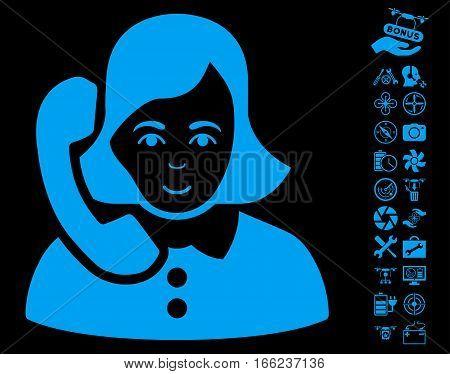 Receptionist pictograph with bonus uav service icon set. Vector illustration style is flat iconic blue symbols on black background.