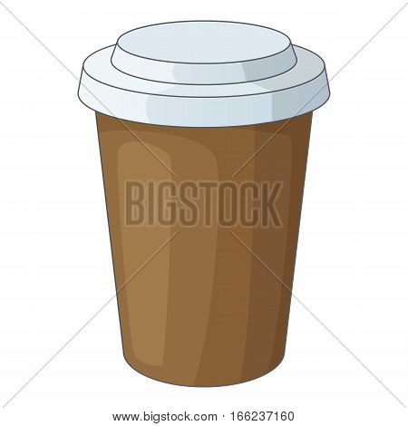 Paper cup of coffee icon. Cartoon illustration of paper cup of coffee vector icon for web design