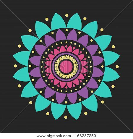 Vector Lotus Mandala Flat Natural Abstract Illustration