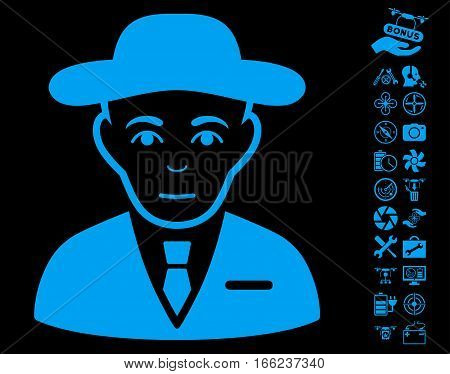 Secret Service Agent pictograph with bonus nanocopter tools pictograms. Vector illustration style is flat iconic blue symbols on black background.