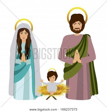 sacred family with baby jesus kneel vector illustration