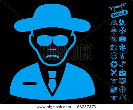 Security Agent pictograph with bonus flying drone tools design elements. Vector illustration style is flat iconic blue symbols on black background.