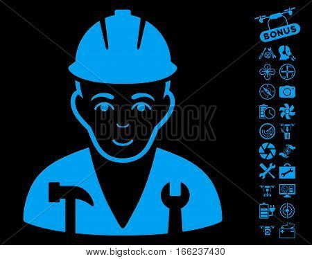 Serviceman pictograph with bonus drone service design elements. Vector illustration style is flat iconic blue symbols on black background.
