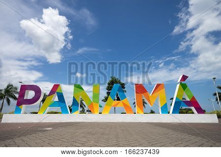 June 23 2016 Panama City Panama: the Panama sign on the Cinta Costera way in the downtown of Panama inaugurated recently