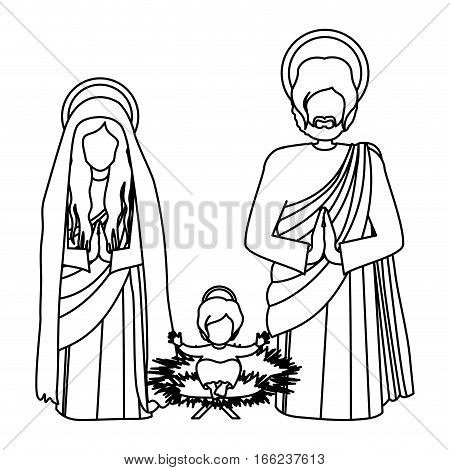 silhouette sacred family with baby jesus kneel vector illustration